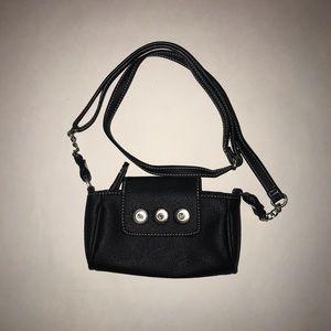 Handbags - Black NEW VEGAN leather Ginger Snap crossbody bag.